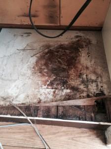 冷蔵庫置き場の底板補修前